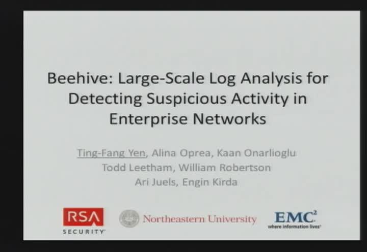 Beehive: Large-Scale Log Analysis for Detecting Suspicious Activity in Enterprise Networks