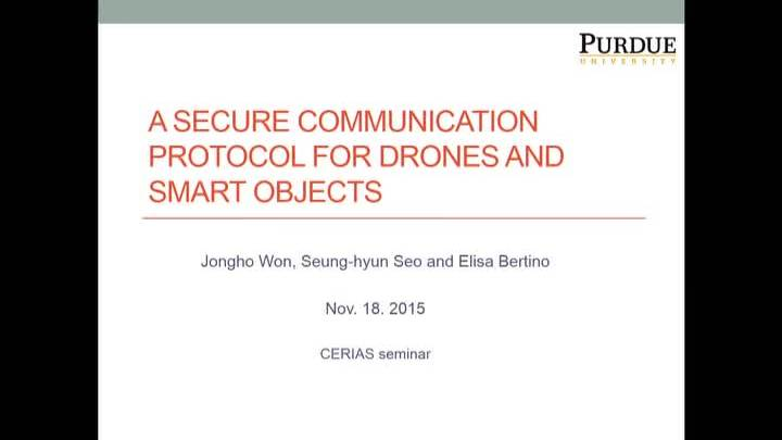 A Secure Communication Protocol for Drones and Smart Objects